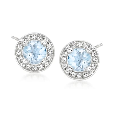 .90 ct. t.w. Aquamarine Earrings with .30 ct. t.w. White Zircon in Sterling Silver