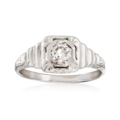 C. 1950 Vintage .33 Carat Diamond Filigree Ring in 14kt White Gold