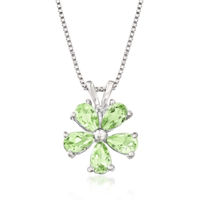 1.25 ct. t.w. Peridot Flower Pendant Necklace in Sterling Silver