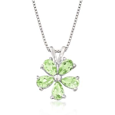 1.25 ct. t.w. Peridot Flower Pendant Necklace in Sterling Silver