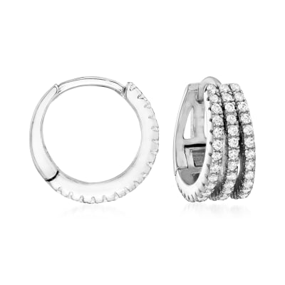 .50 ct. t.w. CZ Multi-Row Hoop Earrings in Sterling Silver
