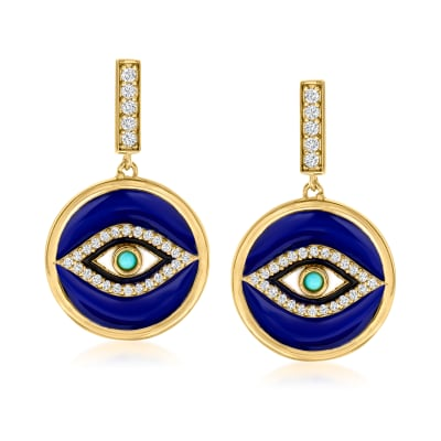 .20 ct. t.w. White Topaz and Multicolored Enamel Evil Eye Drop Earrings with Turquoise in 18kt Gold Over Sterling