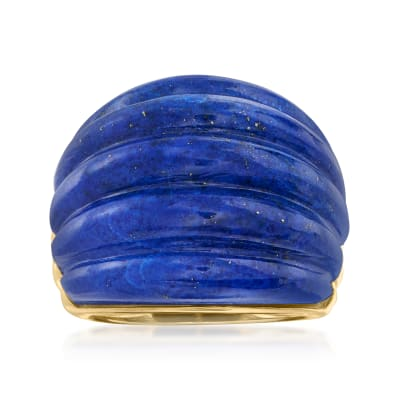 Lapis Dome Ring in 18kt Gold Over Sterling