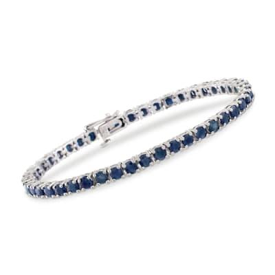 7.90 ct. t.w. Sapphire Tennis Bracelet in Sterling Silver