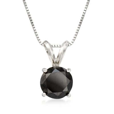 2.00 Carat Black Diamond Solitaire Necklace in 14kt White Gold