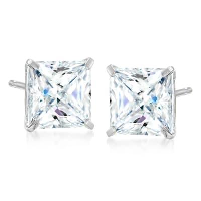 5.00 ct. t.w. Princess-Cut CZ Stud Earrings in Sterling Silver