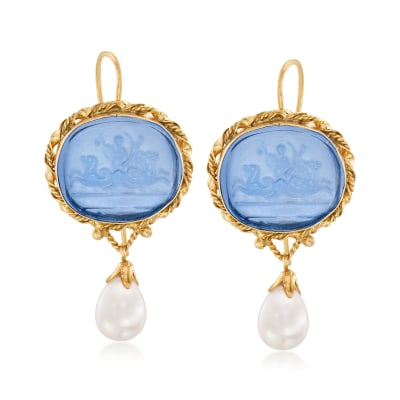 Italian Cultured Pearl and Blue Venetian Glass Intaglio Drop Earrings in 18kt Gold Over Sterling