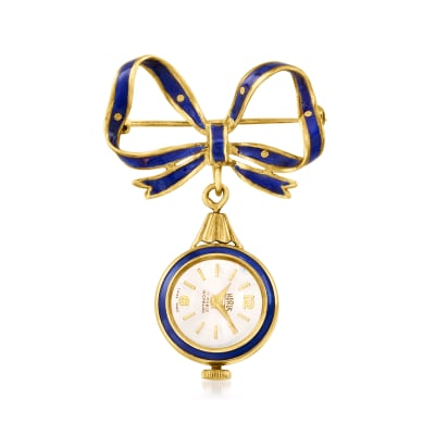 C. 1950 Vintage Blue Enamel Bow Pin/Horus Watch in 18kt Yellow Gold
