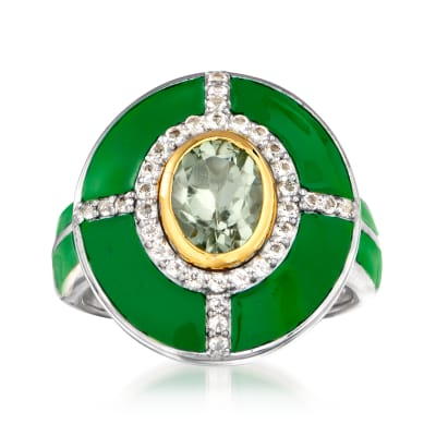 1.20 Carat Prasiolite and .30 ct. t.w. White Topaz Ring with Green Enamel in Sterling Silver with 14kt Yellow Gold