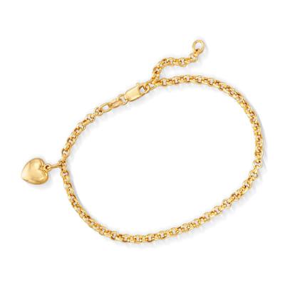 Italian 18kt Yellow Gold Heart Charm Bracelet