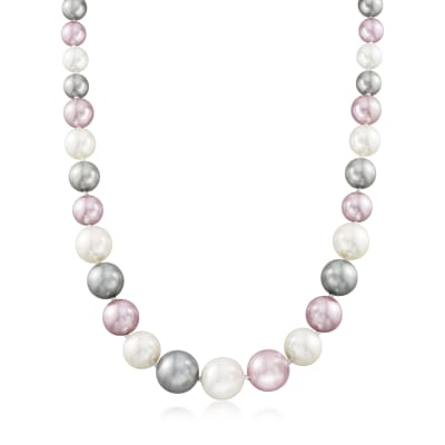 8-16mm Tri-Colored Shell Pearl Necklace with Sterling Silver Magnetic Clasp