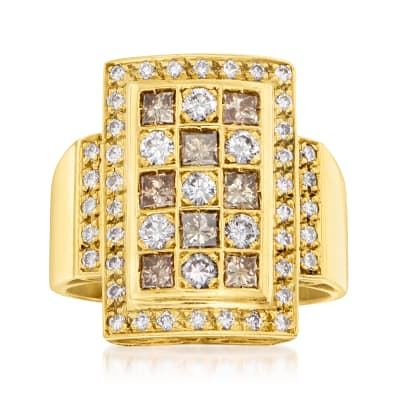 C. 1990 Vintage 1.80 ct. t.w. Brown and White Diamond Checkerboard Ring in 18kt Yellow Gold