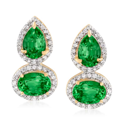 3.30 ct. t.w. Green Diopside and .30 ct. t.w. White Zircon Drop Earrings in 18kt Gold Over Sterling