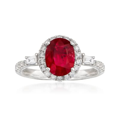 1.60 Carat Ruby and .50 ct. t.w. Diamond Ring in 18kt White Gold
