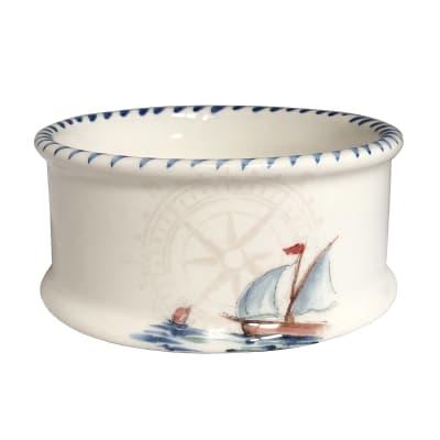 "Abbiamo Tutto ""Sailboat"" Ceramic Pet Bowl from Italy"