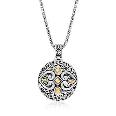 Sterling Silver and 18kt Yellow Gold Bali-Style Pendant Necklace