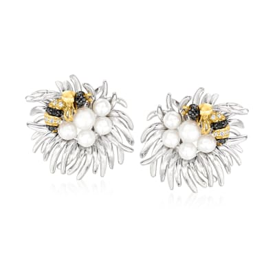 3.5-5mm Cultured Pearl Bee and Flower Earrings in Two-Tone Sterling Silver
