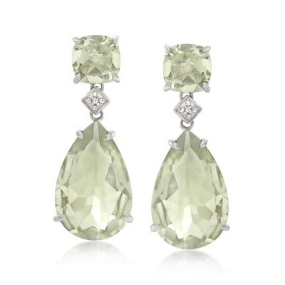 21.60 ct. t.w. Prasiolite Drop Earrings with Diamond Accents in Sterling Silver