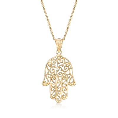 14kt Yellow Gold Hamsa Pendant Necklace