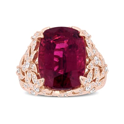11.25 Carat Pink Tourmaline Ring with .90 ct. t.w. Diamonds in 14kt Rose Gold