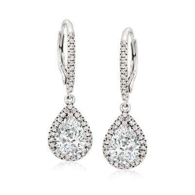 2.90 ct. t.w. CZ Drop Earrings in Sterling Silver