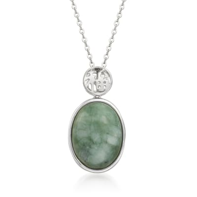 "Jade ""Good Fortune"" Pendant Necklace in Sterling Silver"