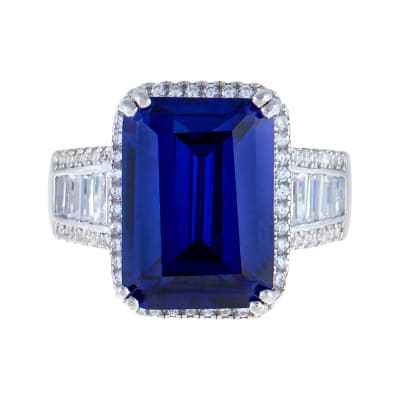 7.60 Carat Simulated Tanzanite Ring with .44 ct. t.w. CZs in Sterling Silver