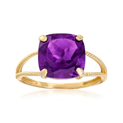 3.90 Carat Amethyst Split-Shank Ring in 14kt Yellow Gold