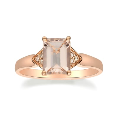 1.30 Carat Morganite Ring with Diamond Accents in 14kt Rose Gold