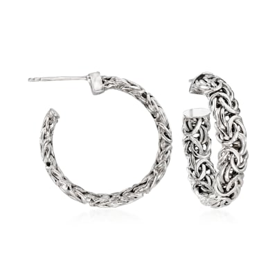 Sterling Silver Byzantine C-Hoop Earrings