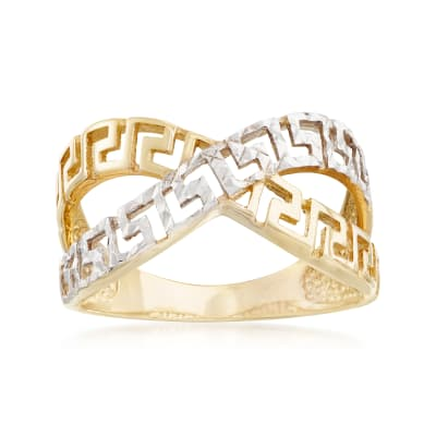 14kt Yellow Gold and White Rhodium Greek Key Crisscross Ring