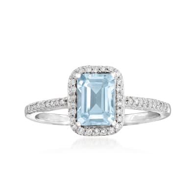 1.00 Carat Aquamarine and .15 ct. t.w. Diamond Ring in 14kt White Gold
