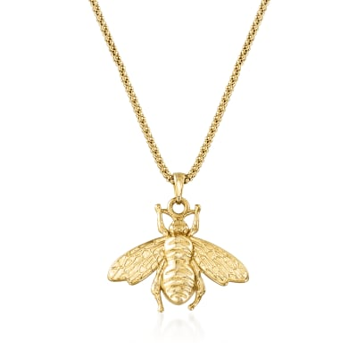 Italian 18kt Gold Over Sterling Bumblebee Pendant Necklace