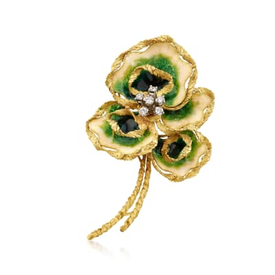 C. 1970 Vintage .55 ct. t.w. Diamond and Enamel Floral Pin in 18kt Yellow Gold