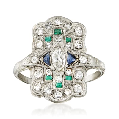 C. 1950 Vintage .70 ct. t.w. Diamond and .18 ct. t.w. Synthetic Multi-Stone Dinner Ring in Platinum