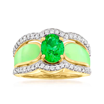 1.30 Carat Green Chrome Diopside and .60 ct. t.w. White Zircon Ring with Green Enamel in 18kt Gold Over Sterling