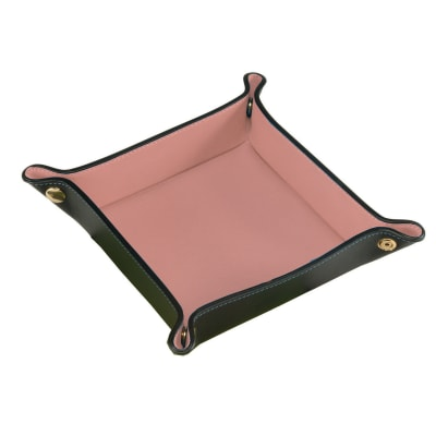 Royce Black/Blush Pink Leather Valet Tray