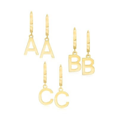 14kt Yellow Gold Single-Initial Huggie Hoop Earrings