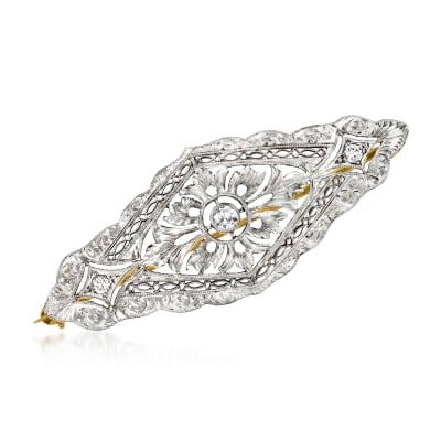 C. 1950 Vintage .20 ct. t.w. Diamond Filigree Pin in Platinum and 14kt Yellow Gold
