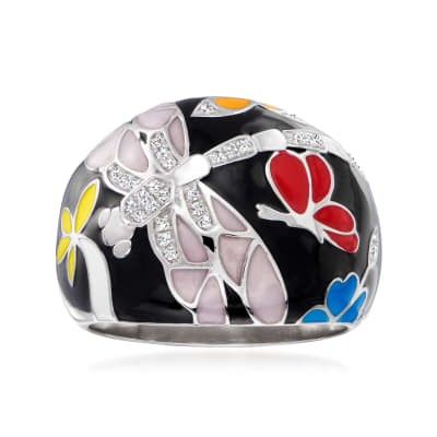 .10 ct. t.w. Diamond Dragonfly Ring with Multicolored Enamel in Sterling Silver