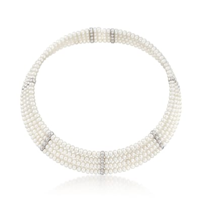 4.5-5mm Cultured Pearl Cuff Choker with Sterling Silver