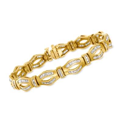 C. 1980 Vintage 3.50 ct. t.w. Diamond Link Bracelet in 14kt Yellow Gold