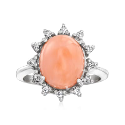 C. 1970 Vintage Pink Coral and .25 ct. t.w. Diamond Ring in 14kt White Gold