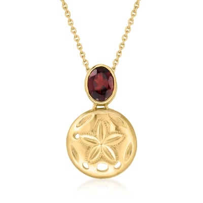 1.10 Carat Garnet Starfish Pendant Necklace in 18kt Gold Over Sterling