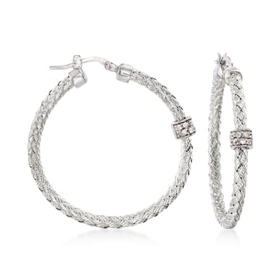"Charles Garnier ""Torino"" .20 ct. t.w. CZ Medium Hoop Earrings in Sterling Silver"