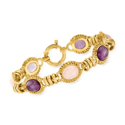 12.00 ct. t.w. Amethyst and 10.00 ct. t.w. Rose Quartz Bracelet in 18kt Gold Over Sterling