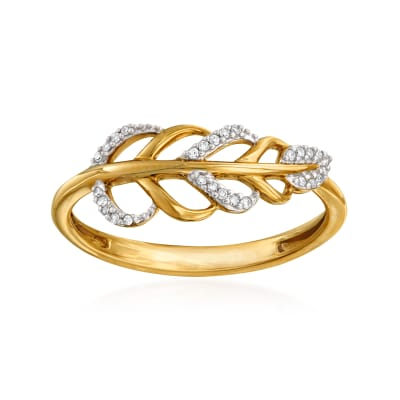 14kt Yellow Gold Diamond-Accented Leaf Ring