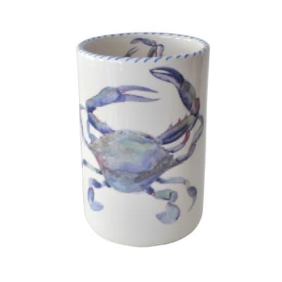 "Abbiamo Tutto ""Blue Crab"" Ceramic Wine Bottle/Kitchen Utensil Holder from Italy"