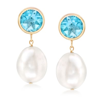 9.5-10mm Cultured Pearl and 4.00 ct. t.w. Blue Topaz Drop Earrings in 14kt Yellow Gold
