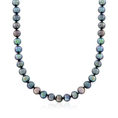 7-8mm Black Cultured Pearl Necklace with 14kt White Gold